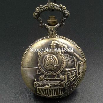 Embossment Railroad Steam train Quartz Men Pocket Watch W/ Chain Nice Gift Wholesale Price H006