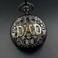 DAD BLACK SILVER QUARTZ MENS POCKET WATCH NICE GIFT NEW SHIP WIT TRACKING NUMBER WHOLESALE PRICE H017