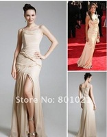 Rose Byrne Sheath/ Column Straps Asymetrical Chiffon/ Elastic Woven Satin Emmy/ Evening Dress