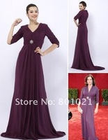 Elizabeth Perkins Empire V-neck Sweep/ Brush Train Chiffon Emmy/ Evening Dress Celebrity Dresses
