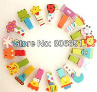 54pcs/lot,cute cartoon animal wood clips,memo card clamp /color panting wooden paper pegs/photo clamp,
