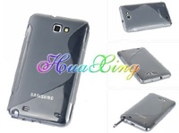 Free Shipping by DHL Galaxy Note GT-N7000 i9220 TPU Case,100pcs S wave TPU Gel Case Cover for Samsung Galaxy Note GT-N7000 i9220