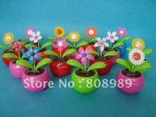 Wholesale! Solar Toy Swing Solar Flower Magic Cute Flip Flap Swing Solar Flower Sunflower 10pcs/lot  Free Shipping (China (Mainland))