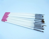 Free shipping 10 piece/lot 12pcs Wooden Handle Nail Art Painting Design Sable Brush Pen Set Kit nail brush