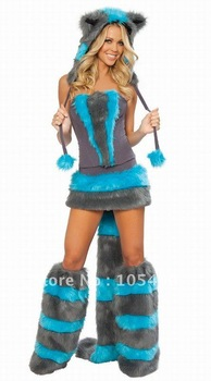 Free shipping! 7 Pieces Cheshire Cat Corset Costume wholesales Cat woman sexy costume,COSPLAY costume