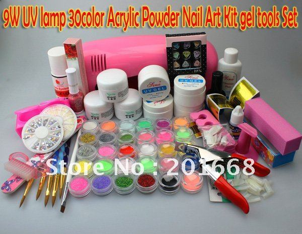 9W UV lamp dryer 18 color Acrylic Powder + 12 Glitter dust + Sticker + decoration + brush + UV gel Nail Art Kit gel Set NA888(China (Mainland))