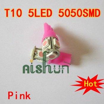 Wholesale 10pcs 12V Pink T10 168 192 W5W 5 LED 5050 SMD LED Car Auto Bulbs LED Signal Lights
