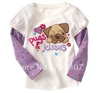 Free shipping&amp;amp;best price Girls white style  t shirts baby clothes long sleeve t shirt kids wear kids costume-10pcs/lot CT-09
