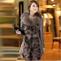 2013 Winter*100%Fox Fur Coat ,Sheep Leather Down Coat With Fox Collar*EMS Free Shippping SU-1129