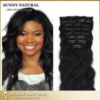 Black Straight Indian Hair Clip-in  Extension