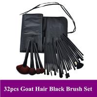 Dropshipping! Pro natural animal goat hair Makeup Brushes Black 32 Piece Brush Set Kits & Leather Bag + Free Shipping