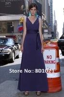 A-Line V-Neck Amethyst Floor Length Satin Chiffon Sash Bridesmaid Dresses 2012