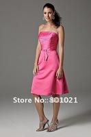 A-line Strapless Floor Length Hot Pink Satin Short Bridesmaid Dresses 2012