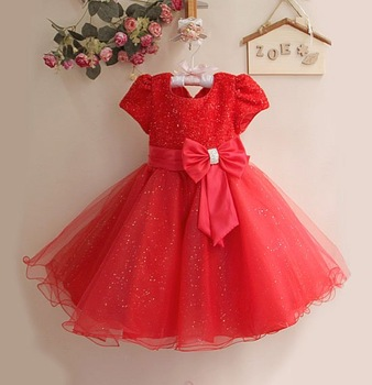 New Year Kids Girl Party Dress hot Pink Children's Dress With Bow 6PCS/LOT Chstmas Bby Cothes GD11116-01R^^LM