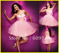 Top Quality 2012 Designer Strapless Backless Tulle Beads Mini A line Pink Sexy Homecoming Dresses Prom Dress