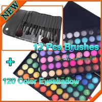 Pro 120 Color Eyeshadow Palette + 12 Pcs Makeup Brush Set Kit , Free shipping