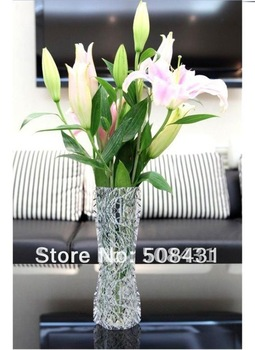 50 Cs/lot Free Shipping Wholesale New Arrival Fashion PVC Flower Vase Folding Plastic Vase Home Decorative Vase Mix Order