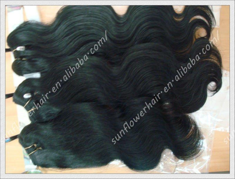 6a virgin Cheap peruvian body wave virgin hair weft bundles, Unprocessed remy human hair extension lots qingdao sunflower hair(China (Mainland))