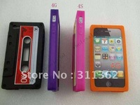100pcs/lot Hottest Wholesale Cassette Tape Silicone Case rubber Cover Back Covers Skin Case for iphone 4G 4S