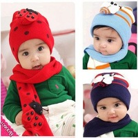 Free Shipping 10Pcs/lot,4 Colors For Options,h-1302 Children The Cap + Scarf Suit,Lovely Lady Beetles Cap,Hot Sale Baby Hat Suit
