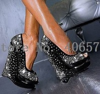 Free shipping BIG PROMOTION sexy double waterproof dress shoes, high heel shoes Crystal round Toe pum,sexy high heel shoes
