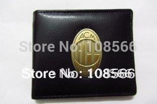 Free shipping AC Milan fc metal badge purse / fans black imitation leather wallet