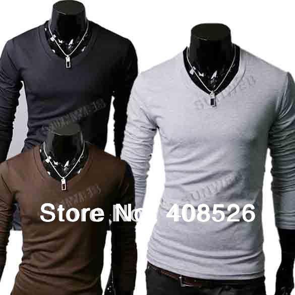 New-Slim-Fit-Cotton-Stylish-V-Neck-Long-