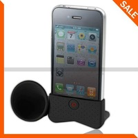Black Silicone Horn Stand Amplifier Speaker for iPhone 4 4G 4th Free shipping