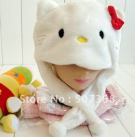 Nice Punk wholesale 10pc/lot  hello kitty warm cap Cartoon Cream-Coloured hellokitty Animal Hat