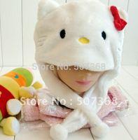 Nice Punk wholesale 8pc/lot  hello kitty warm cap Cartoon Cream-Coloured hellokitty Animal Hat