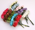 120 pcs/ lot  10 Mixed colors  Mulberry Paper Rose Flower Bouquet/wire stem/ Scrapbooking flower Free shipping
