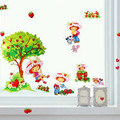 FREE SHIPPING  2pcs alot hot saling Strawberry girl children cartoon classrooms the kindergarten decorative wall stickers962