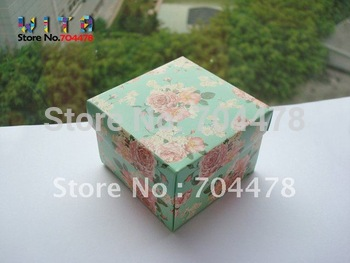 50pcs/lot   Free shipping Light Pink Flower Wedding DIY Paper Gift Jewelry Candy Box   #441