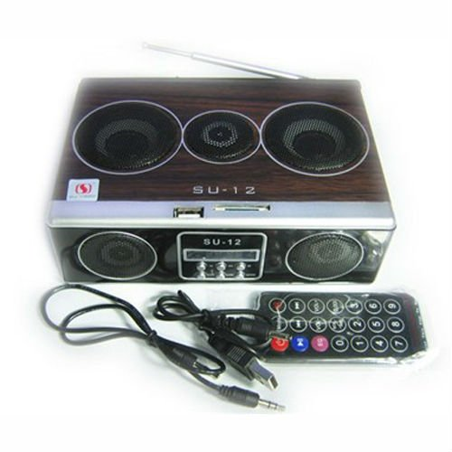 4-in-1 SU12 Speaker boombox FM Radio SD Card reader USB speaker 1pcs(China (Mainland))