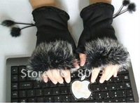 rabbit fur Ladie's Winter mitten gloves for typing & writing, free shipping