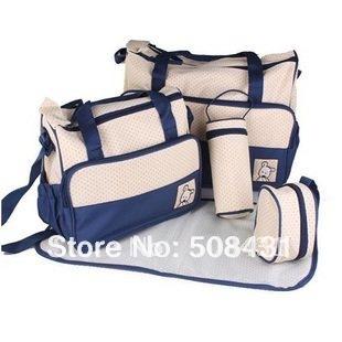 B 5pcs/set free shipping wholesale multifunctional baby bag fashion mommy bag baby product diaper nursing nappy changing bag set