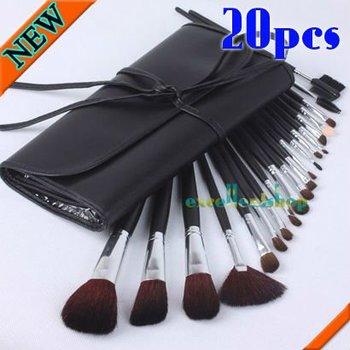 20pcs GOAT PONY hair Make up Cosmetic Brush Set +Black Leather Case Free Shipping