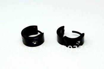 wholesale SSE065 stainless steel earring, 10*4mm 6pairs/lot rhinestone men earrings, black stainless steel jewelry