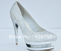 Free shipping, 2011 silver color diamond sexy high heel shoes, double paragraph high heels shoes sexy pumps