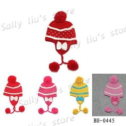 Dotted Baby Earflaps Hat with Bowknot Striped Kids Winter Hat with Pearl Girls Bonnet Baby Linecaps 4-8 years Free Shipping(China (Mainland))