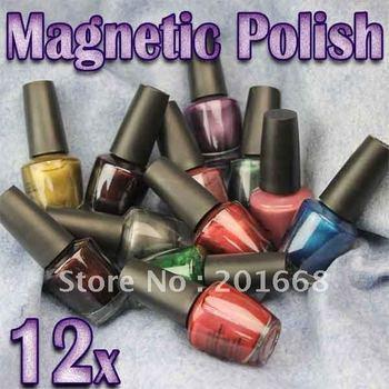 Magic Nail polish Magical polish Metallic Magnet Magnetic Shiny Nail Polish Varnish 12 Colors 15ml - NA604