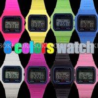 New 8 colors Digital Quartz Day Date ALM LED Light Mens Womens Ladies Wrist Band Sport Watch W013