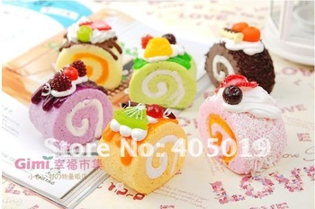 Super Kawii Simulation Fruit Cake Phone Charm Squishy Egg Roll Keychain Bag Pendant w/Lanyard Must Have Accessory Free Shipping