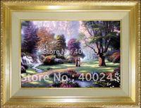 NEW!oil painting,100% handmade+Quality Guarantee,canvas oil painting,Landscape oil painting,Walk of Faith  by Thomas Kinkad