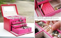 hot sell /pink color / gift box / birthday present leather/ jewelry box(China (Mainland))