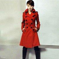 Hot sale women's Woolen coat, winter jacket women,Winter jackets,double-breasted long fashion Outerwear,black,red, free shipping
