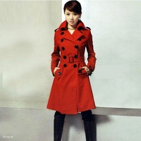Hot sale women's Woolen coat, winter jacket women,Winter jackets,double-breasted long fashion Outerwear,black,red, free shipping