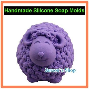 3D lindo Ovejas Forma JSHM - 0843 forma jabón hecho a mano del molde de la vela de chocolate pastel de molde siicone molde del jabón del silicón pudín