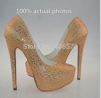 Free shipping rhinestone Pumps New sexy high heels Platforms women sandals summer Brand wedding shoes size 34-41