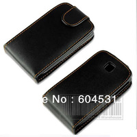 Whole sales 10pcs/lot Black color Magnetic Flip PU Leather Case Cover For Samsung Galaxy mini/S5570 Free shipping